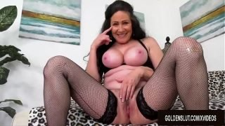 Big Tits Mature Alexandra Silk Strips Playfully Before Fucking