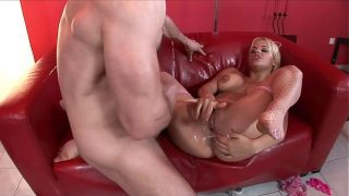 Busty Mature Blonde Babe prepared for hard rough fuck and squirting by bff
