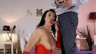 Classy mature stockings gets cum in ass