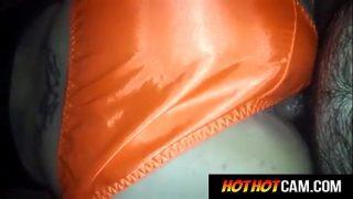 my mature wife wearing orange santin panty