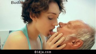 Old bastard gets luckily hot fuck with pervert hottie