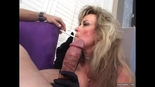 Sexy blonde mature smokes and sucks cock