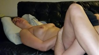 Slut wife makes hubby lick her pussy clean then gets creampie